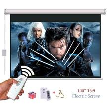 HD 3D Elektrische Projektor Bildschirm 100 zoll 16:9 Motorisierte Bildschirme pantalla proyeccion für LED LCD Dlp-projektoren