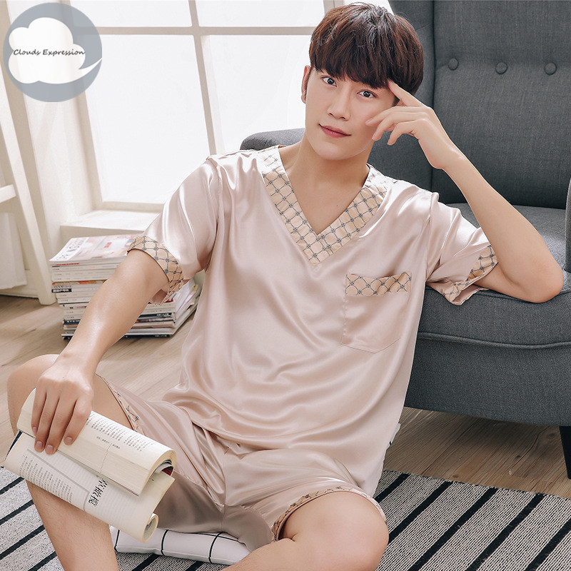 Men Pyjamas Nightgown Sleepwear Short-Sleeved Satin Imitate-Silk Summer Lover 3XL Polyester