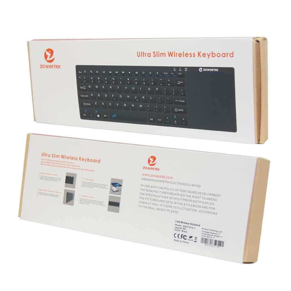 Zoweetek K12BT-1 Bluetooth bezprzewodowy touchpad klawiatura z rosyjski angielski dla SmartTV, DVB, Tablet komputer, smartfon