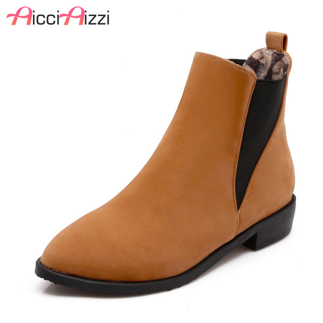 cb50d961981d3 AicciAizzi Size 34-47 Women Round Toe Flat Ankle Boots Autumn Winter Warm  Martin Bota Sexy Leisure Boot Woman Footwear Shoes