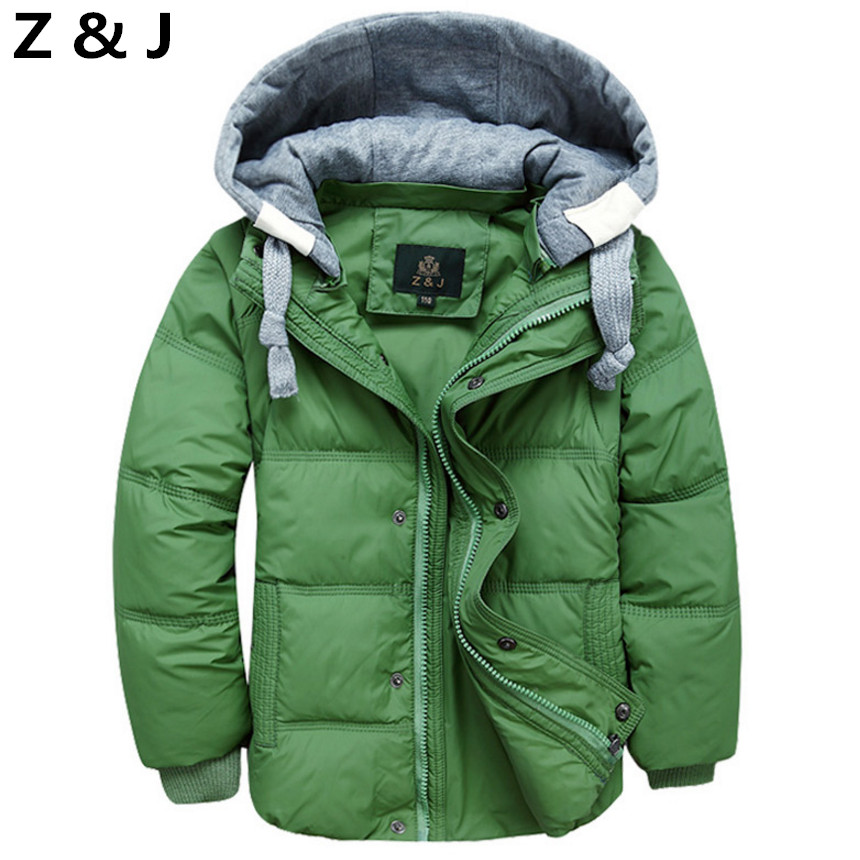 2017 Winter Children Boys Down Jacket Coat Fashion Hooded Thick Solid Warm Coat Boy Winter Clothing Outwear For 4-12T 6 Colors