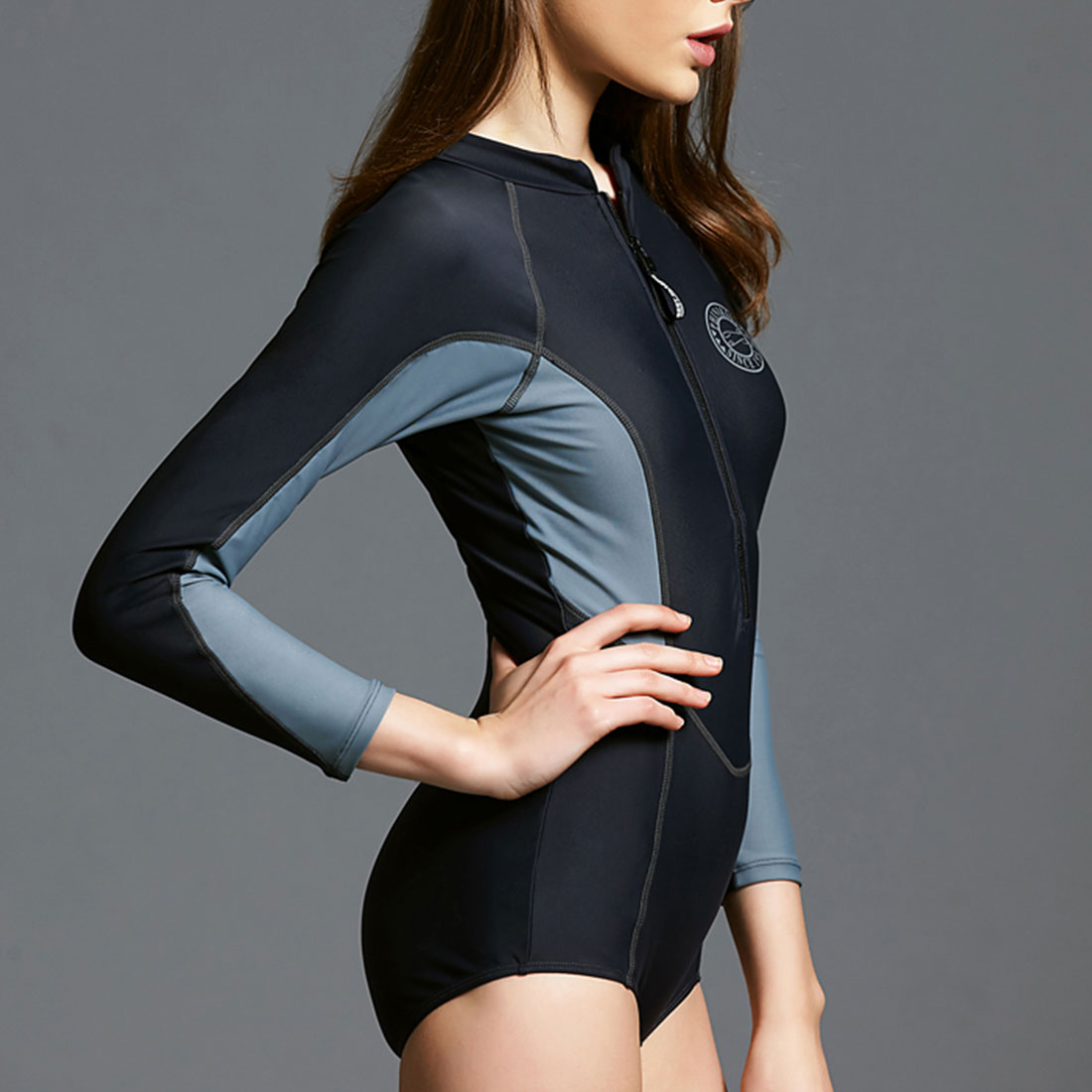 2018 solid one piece swimsuit long sleeve swimwear women bathing suit retro maillot de bain