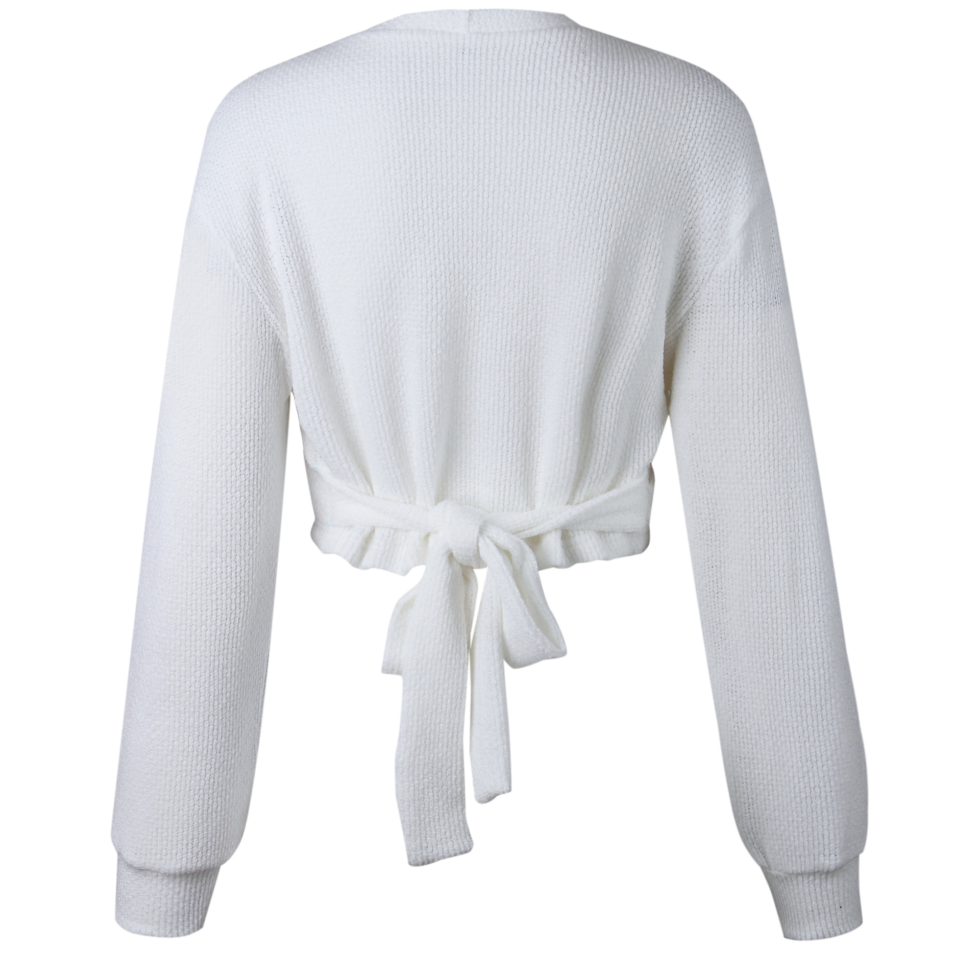 Autumn And Winter Sweaters tops Loose Slim Sweater pullover 19 Casual solid Fashion White Long Sleeve V-neck Women Clothing 2