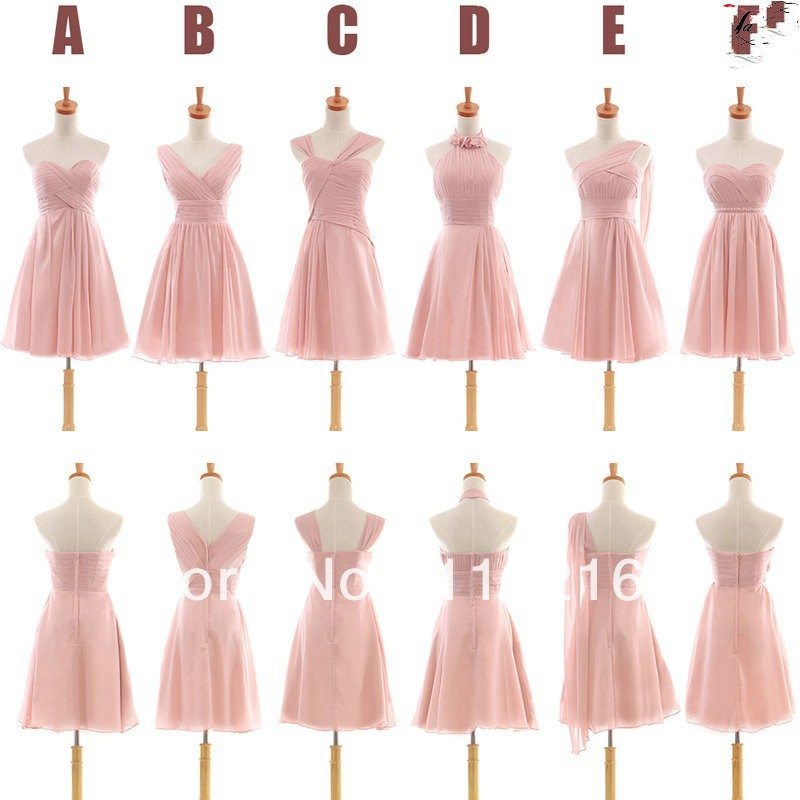 New Arrival Cheap Different Styles Chiffon Bridesmaid Dresses Junior Girls Party Dresses Style A B C D E F Free Custom Making In Bridesmaid Dresses From