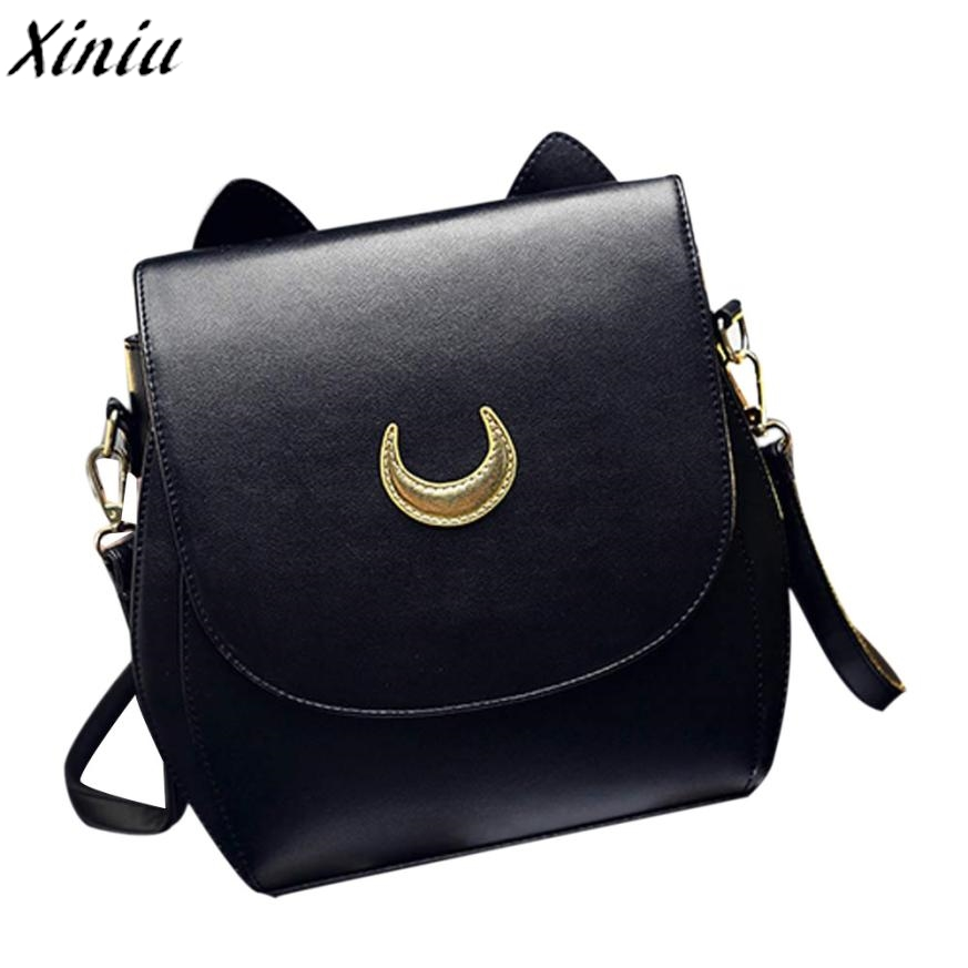 Sailor Moon Bag 2 Colors Black White Leather Women Handbag Girl Strap Hasp Shoulder Bag Handtassen Vrouwen Beroemde Merken#0718