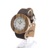 High Quality Red Wood Watch With Blue Genuine Leader Band Japan Quartz Movement 2035 Wristwatch Wooden