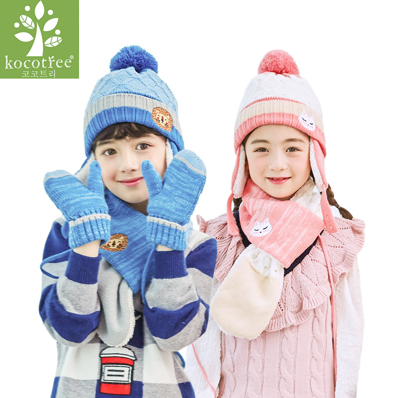 Kocotree Autumn Winter Children's Set Kids Warm Knitted Hat With Scarves Mittens Hot Sell For 1-10 Years Old Boys Girls Pom Hat