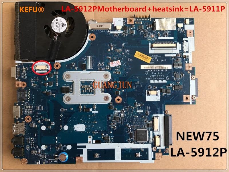 KEFU LA 5912PMotherboard heatsink LA 5911P For acer NEW75 LA 5912P 5551G 5552G 5551 Laptop Motherboard