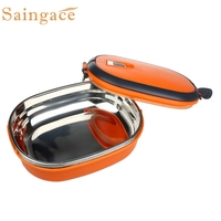 Fashion Style 19CcmX13 5cmX7 5cm Single Stainless Steel Insulation Lunch Bento Box Food Container Bag 25
