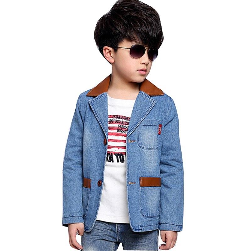Kids Coat Boy Denim Jacket Leather Collar Cotton Outwear Stylish Top