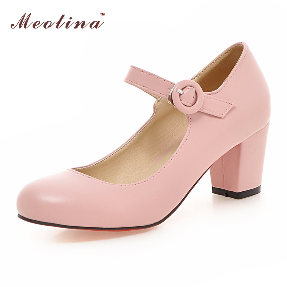 Meotina Women Shoes Mary Jane Ladies High Heels White Wedding Thick Heel Pumps Lady Black Pink Beige Plus Size 43 10