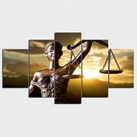 5 Piece Canvas Painting With The Image Of Themis Goddess Of Justice HD Printed Room Decor