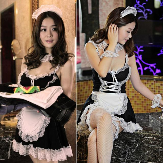 c199f0c8900 Women Lace sexy lingerie hot erotic Cosplay French Maid Uniform Deep V neck  Babydoll Dress Lenceria Sexy Costume Underwear