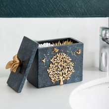 Resin Tree Pattern with Toothpick Holder Container Cotton Swab Box Case Tooth Pick For a Toothpicks