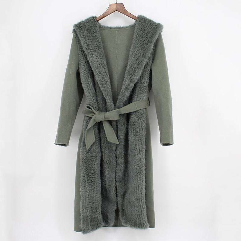 Capuche Tricoté Lady Cachemire Outwear Manteau Long Réel khaki Beige 2018 Mince Big Luxe Mode En Vison Naturel Ceinture Femmes Fourrure Automne De Nouveau green TzxwwH5qE