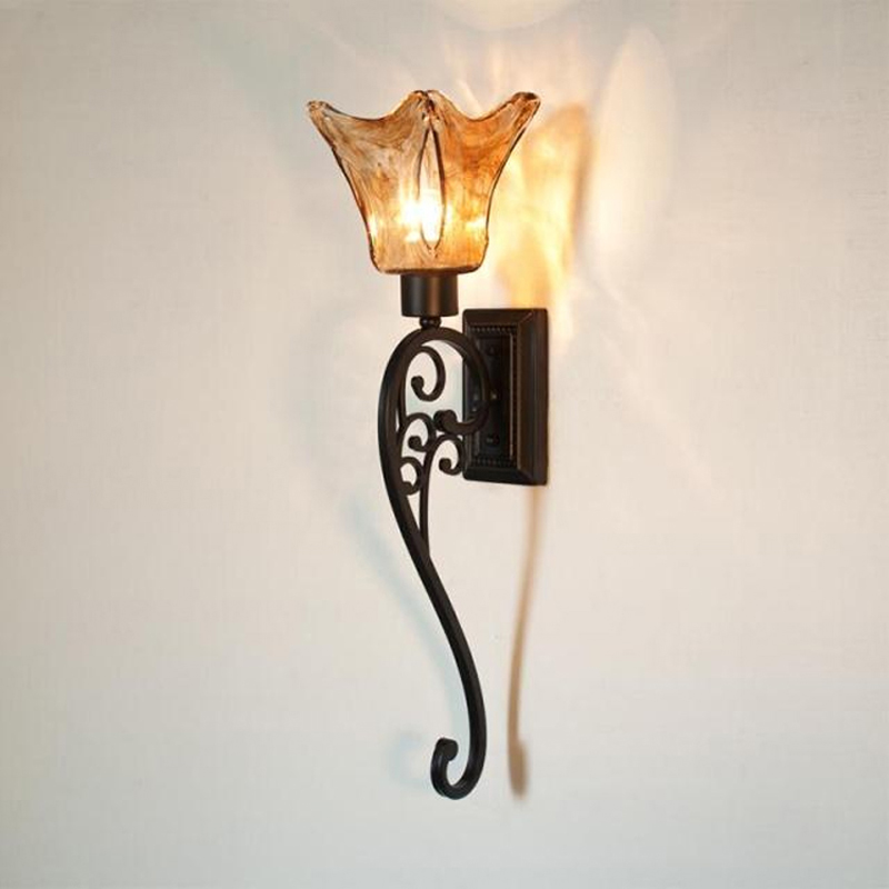 Industrial Wall Sconce Antique Black China Hotel Wall Lamp Retro - Wrought iron bathroom lights