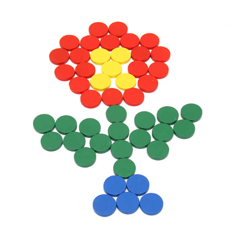 Free Shipping Montessori Wooden Math Toys 100Pcs Round Plate Colorful Circle Preschool Early Educational Math Childrens Day Gift 2017 new arrival baby montessori toys wooden rainbow balance blocks toy colorful beads seesaw early education childrens day gift