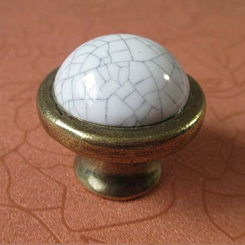 Crack Ceramic Kitchen Cabinet Knobs Handle White Bronze Dresser pull Drawer Knob Antique brass Furniture handles