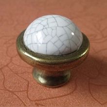 Crack Ceramic Kitchen Cabinet Knobs Handle White Bronze Dresser pull Drawer Knob Antique brass Furniture handles vintage