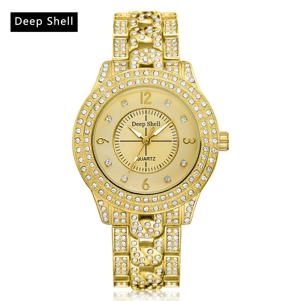 Deepshell Full Crystal Diamond Women Stainless Steel Bracelet Quartz Gold Watch Female Ladies Dress Wrist Watches montre femme deepshell full crystal diamond women stainless steel bracelet quartz gold watch female ladies dress wrist watches montre femme