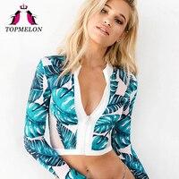 TOPMELON Bikini Swimsuit Women Long Sleeves Bikini Tropical Plant Printed Swimwear Ladies Zipper Triangle Bathing Suit
