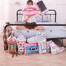 Милые Креативные декоративные подушки в стиле INS, 3D мультяшная короткая плюшевая игрушка-подушка, ультра-мягкая имитирующая косметика, продукты, обувь, подушки