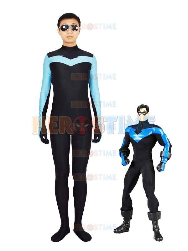 Factory wholesale Spandex Nightwing Costume Superhero zentai suit Halloween Cosplay Costume
