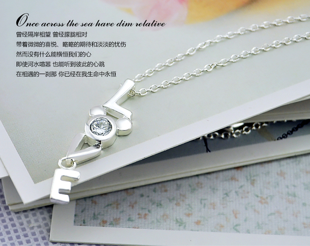 Valentine's day birthday present LOVE Necklace 100% 925 Sterling Silver Simple Pendant Chocker Fashiont Woman Silver Jewelry 3