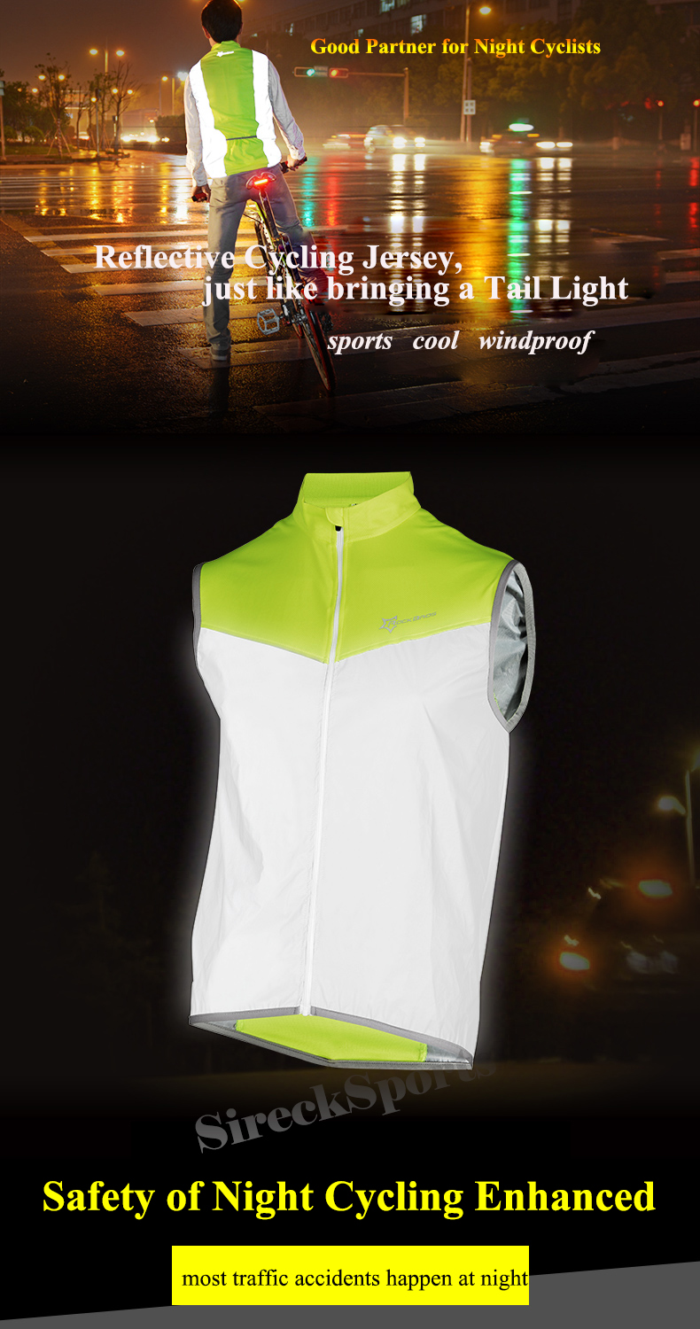 Rockbros Reflective Cycling Sleeveless Jersey Outdoor Sporting Wind Vest Special Buy Clothing, Shoes & Accessories Vests