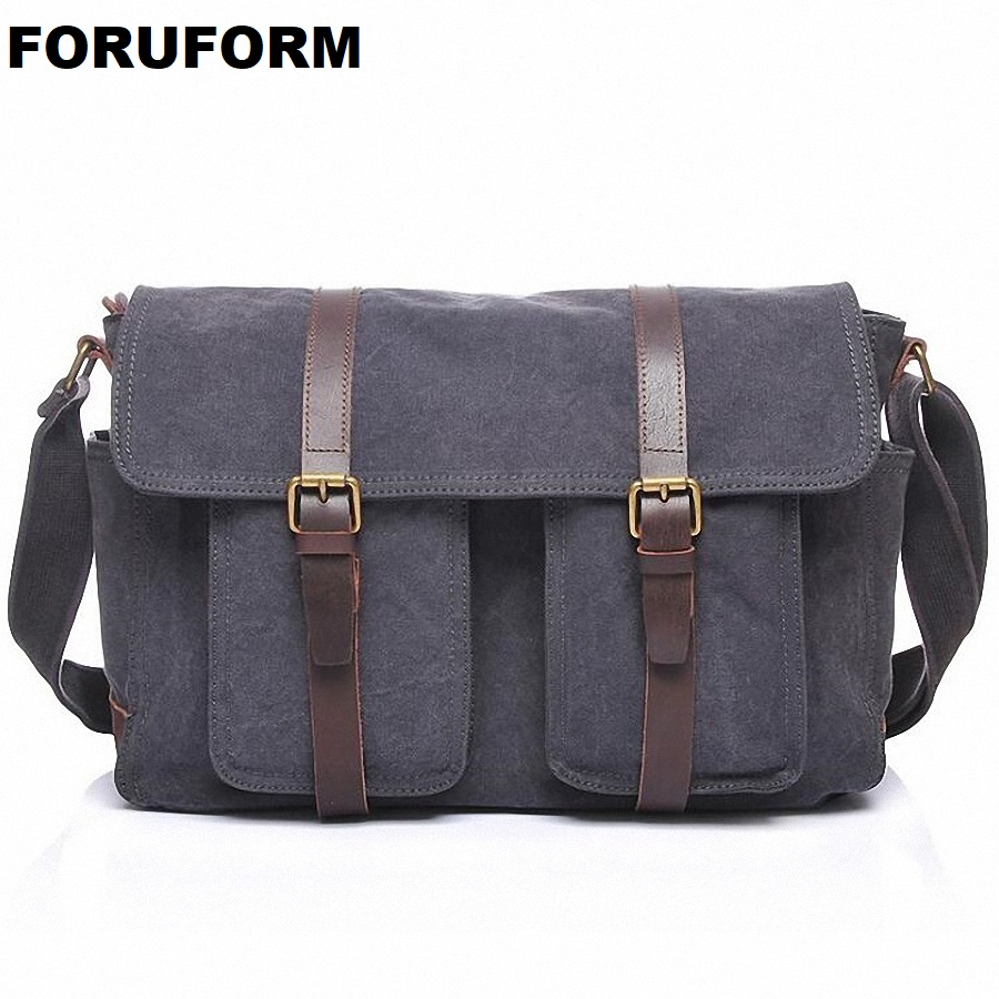 все цены на 2018 New Vintage Men's Messenger Bags Canvas Shoulder Bag Fashion Men Business Crossbody Bag Casual Solid Travel Handbag LI-2056