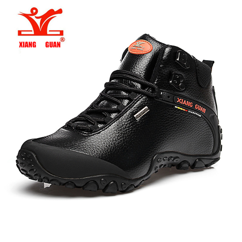 ФОТО XIANGGUAN Unisex Winter High Top Leather Trekking Hiking Camping Outdoor Mountain Shoes For Men And Women Sneakers
