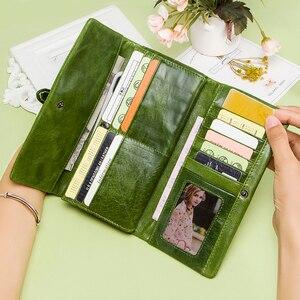 Image 3 - جلد طبيعي النساء محافظ الإناث طويلة مخلب المحفظة العلامة التجارية حقيبة المال للسيدات سستة محفظة نسائية للعملات المعدنية حامل بطاقة Portomonee
