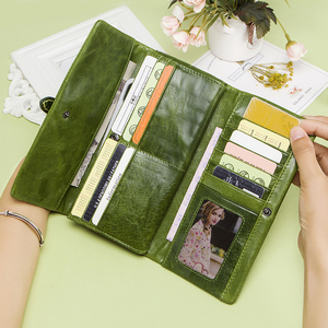 Image 3 - Genuine Leather Women Wallets Female Long Clutch Wallet Brand Money Bag For Ladies Zipper Coin Purse Portomonee Card Holder