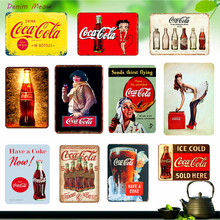Ледяной напитки доска Винтаж Кока кола плакаты с рок-группами потертый шик настенные наклейки для паб, бар, кафе клуб жестяная вывеска домашний декор WY21