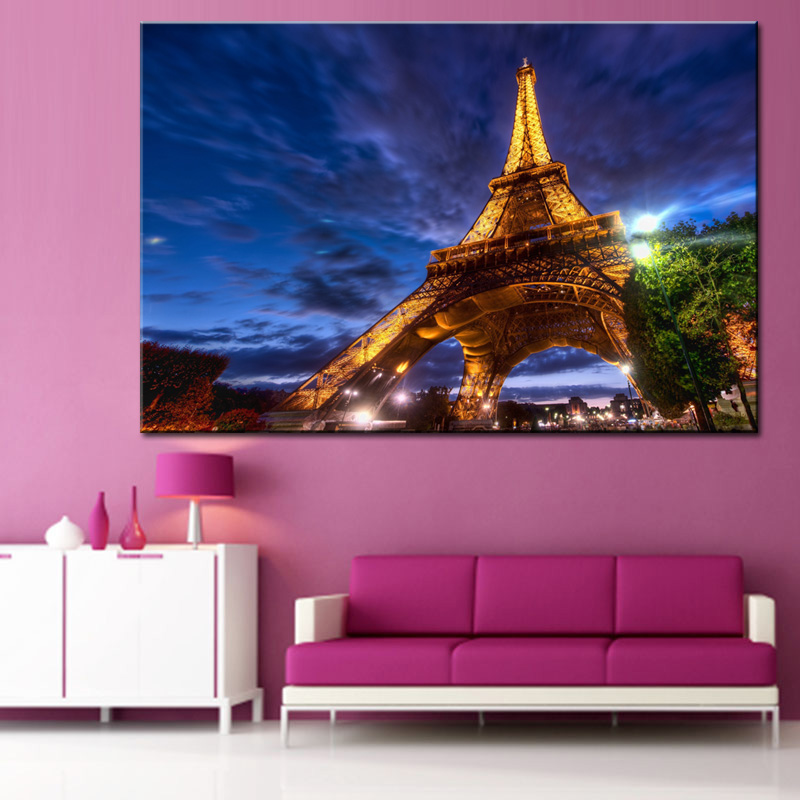 Blue Night Eiffel Tower Canvas Print Painting Famous Buildings in ...