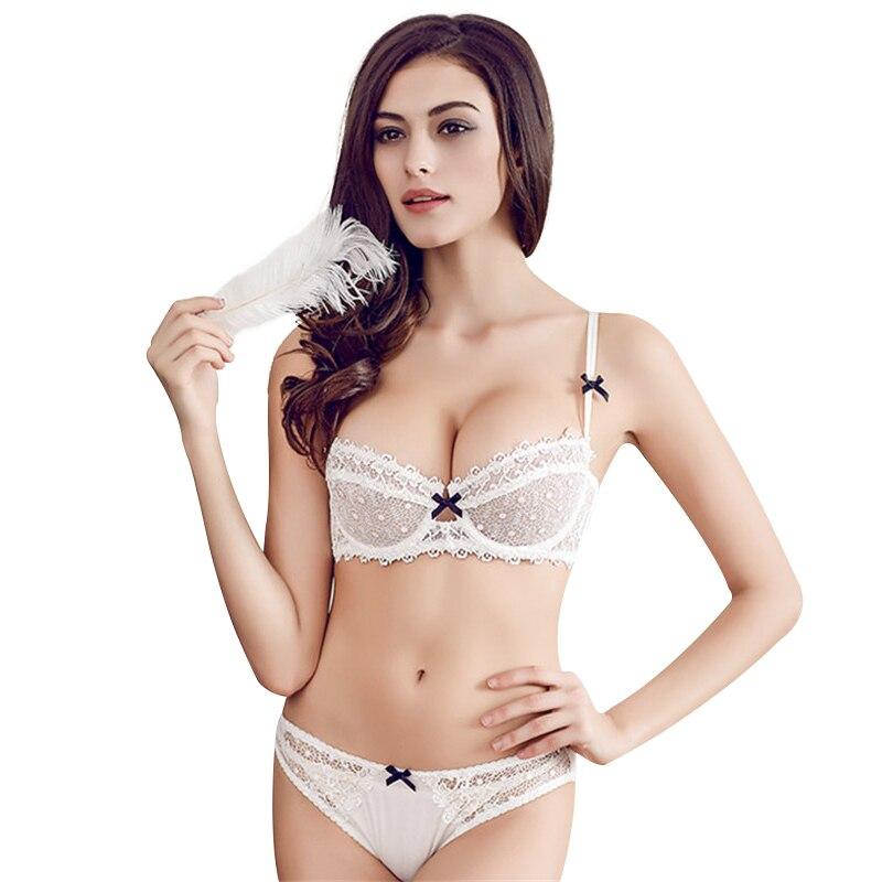 Modeutklipp ultratunt transparent sexig kopp vattenlöslig broderi för kvinnor med enkel bh-lock som underkläder