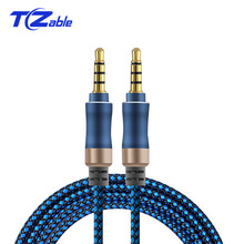 3.5mm Jack Audio Cable Male To Male Car AUX Extension Cable Gold-Plated 4 Poles Plug For Mobile Phone Flat Notebook Speaker Wire 24k gold plated 3 5mm male to male flat audio connection cable white 100cm