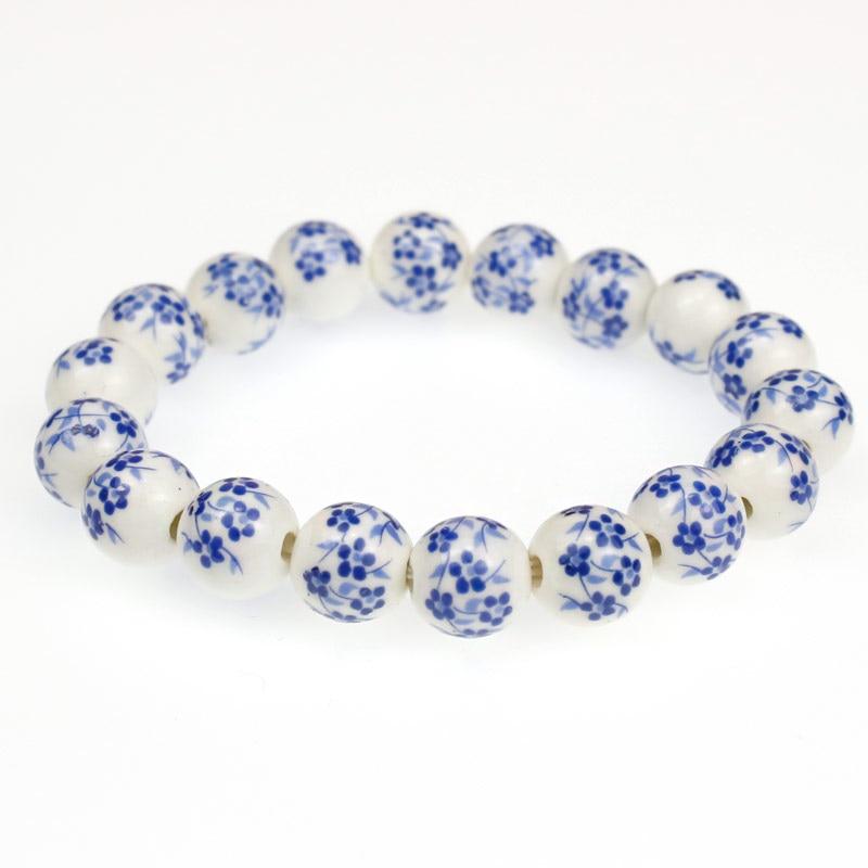 10mm Keramik Runde Perlen Elastischen Faden Armband Mit Blaue Blume Muster Für Frauen Männer Oder Wie Es Ist Jeder Extrem Effizient In Der WäRmeerhaltung