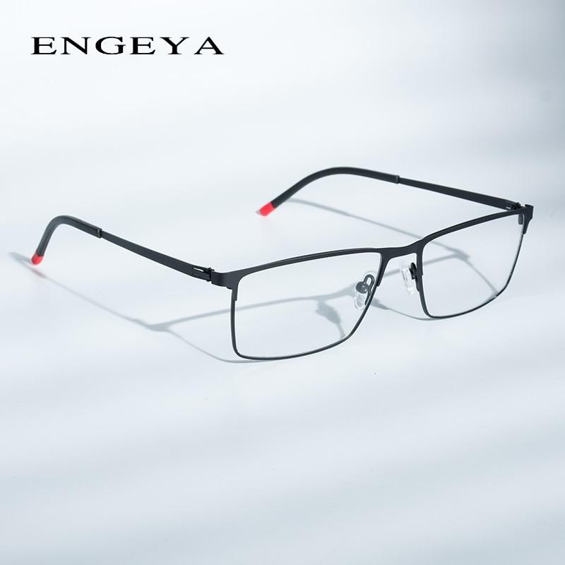 Optical Metal Glasses Frame Men Retro Clear Myopia Prescription Eyewear Square Designer Eyeglasses Frame Unique Hinge#IP9010