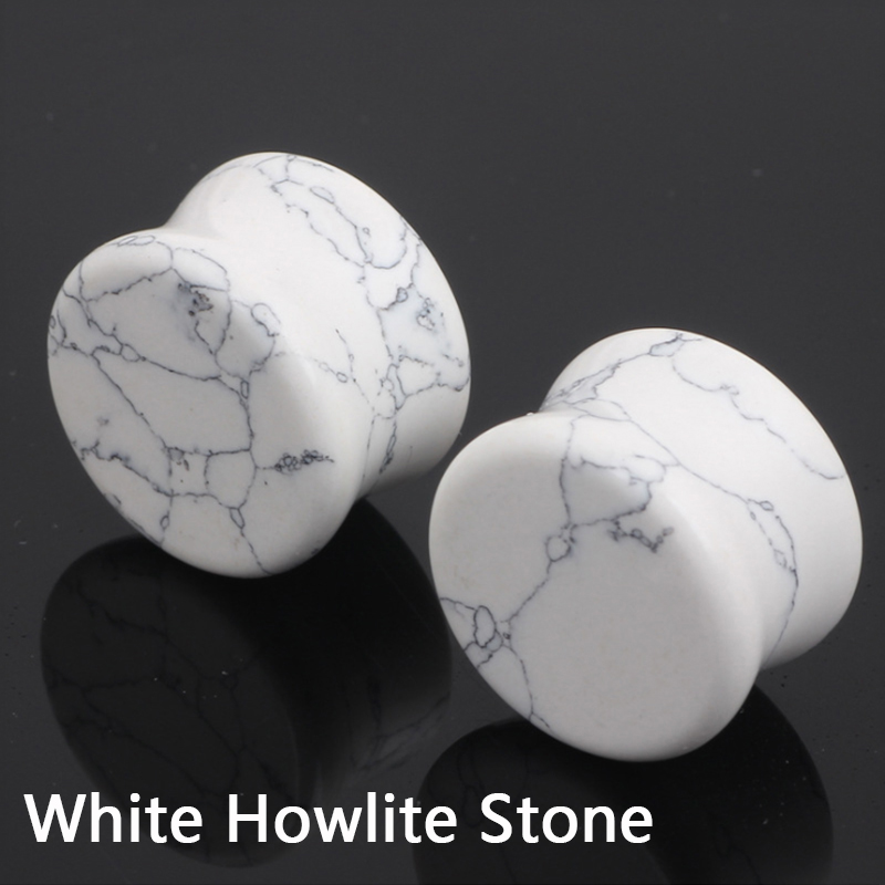 Gauges-Stretcher Jewelry Ear Expander Howlite-Stone Flesh-Tunnels Lobe-Plugs Body-Piercing