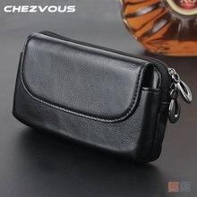 Chezvous universal 4.0 6.0 cinto clipe bolsa de couro genuíno caso para iphone5 6 7 8/plus telefone carteira para samsung s8 s7 s6 s5/plus
