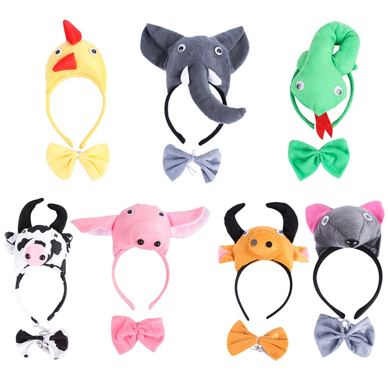 Cute Animals Dog Cat Headwear With Collar Puppy Kitten Hair Band Collar Halloween Party Dress Up Costume Accessory