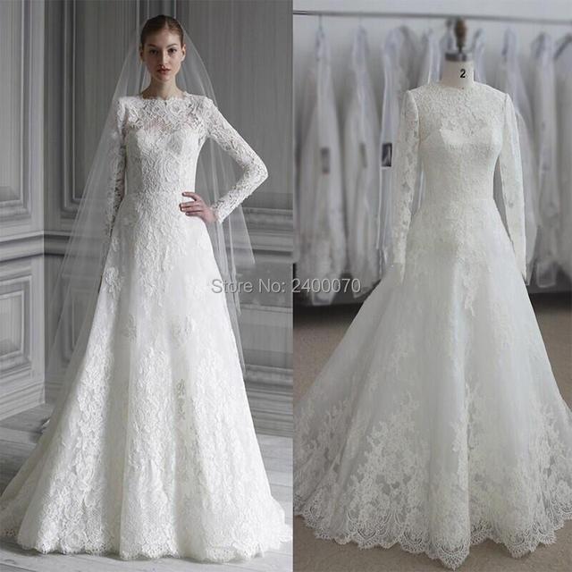 2016 Muslim Wedding Dresses Long Sleeves Arabic Ic A Line Gowns Modern Dress