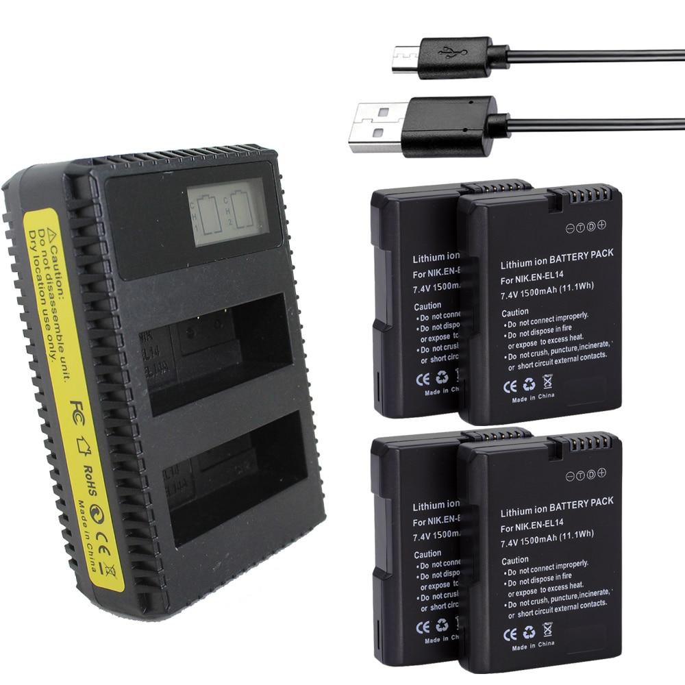4x EN-EL14 ENEL14 EN EL14 EL14a EL14 batterie + USB LCD Double Chargeur Pour Nikon D5200 D3100 Pour Nikon D3200 D5100 P7000 P7100