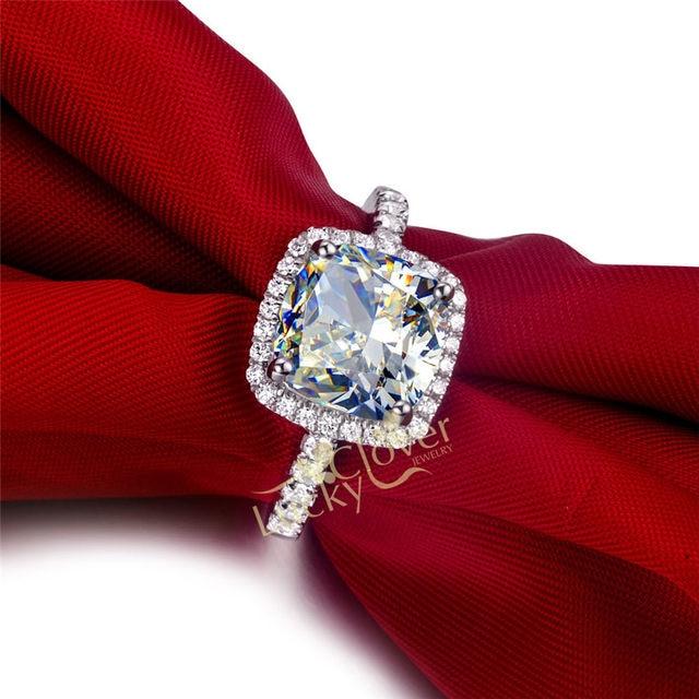 Luxury Quality NSCD Synthetic Gem 3 Carat Cushion Cut Engagement Wedding  Ring Set For Women,Bridal Set