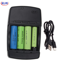 Chargeur de batterie USB intelligent 4 fentes pour piles rechargeables 1.2V AA AAA AAAA NiMh NiCd 1.5V alcalin 3.2V LiFePo4 14500 10440