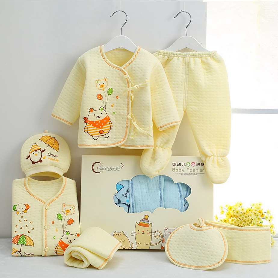 Winter & Autumn Newborn Baby Clothing Set Infant Clothes Suits 7 Pieces For 0-3M Full Month Neonatal Clothing High Quality