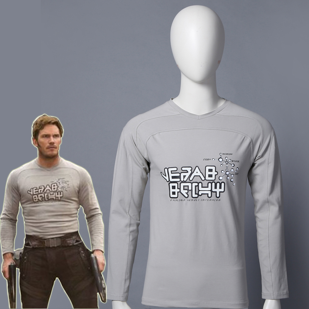 Guardians of the Galaxy 2 Star Lord Tops Cosplay Peter Jason Quill Hallween Costume Man Long Sleeves T-shirt Superhero Costumes