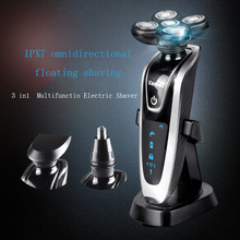 Kemei 3 in1 Shaver Whole Body Waterproof Rotary Intelligent Charging Razors Men Face Care 5D Floating 5886