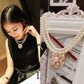 2016 new fashion alloy rhinestone imitation Wild Camellia petal clavicle chain simulated pearl necklace double